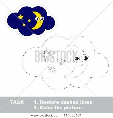 Moon To Be Traced. Vector Trace Game.