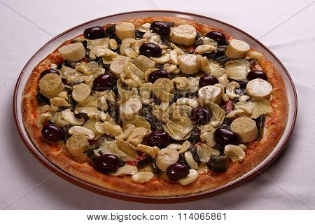 Traditional Italian Pizza On White Background.