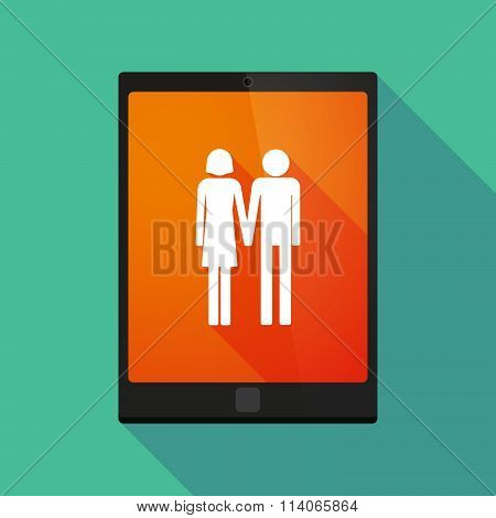 Long Shadow Tablet Pc Icon With A Heterosexual Couple Pictogram