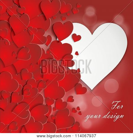 Valentine Card With Volumetric Hearts