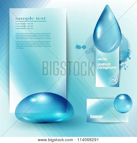 Template With A Blue Background And The Drops Of Pure Water