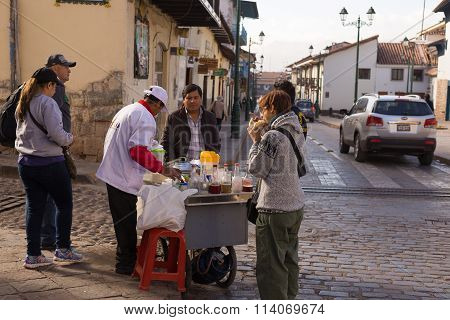 Ordinary Life And Street Food In Cusco, Peru