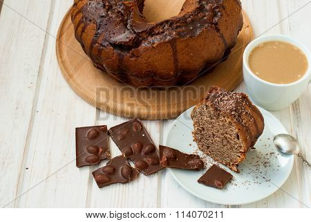 Piece Of Chocolate Cake With Chocolate Crumb Topping