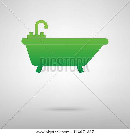 Bathtub. Green icon with shadow