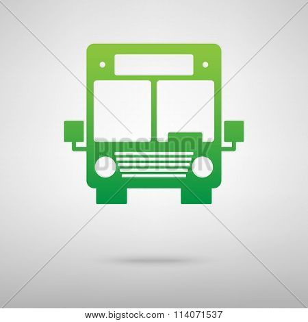Bus icon. Green icon with shadow