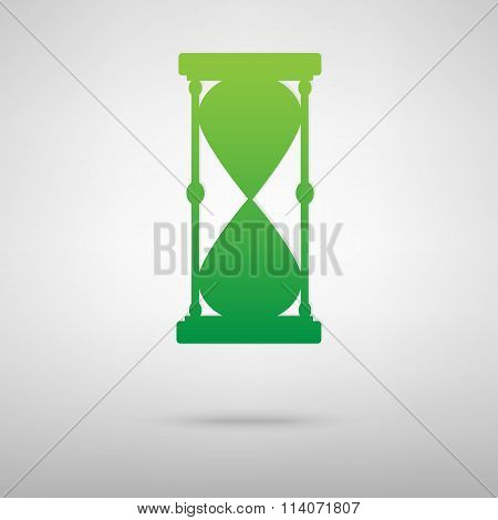 Hourglass. Green icon with shadow
