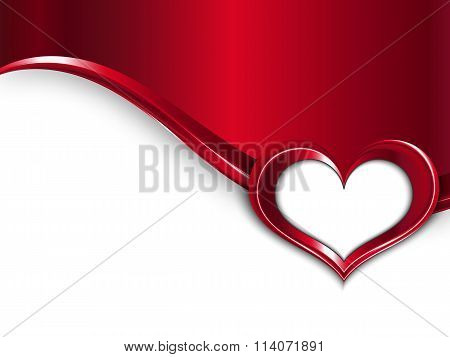 Valentines Day Design. Vector Metal Background With Wave And Frame Of Heart For Your Text