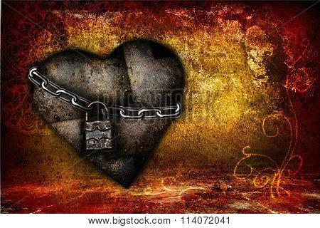 orange Valentine card with iron heart