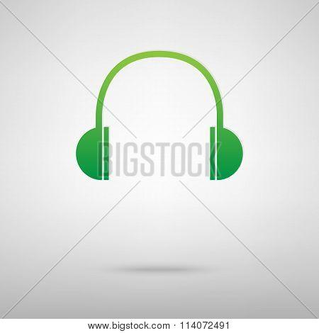 Headphones. Green icon