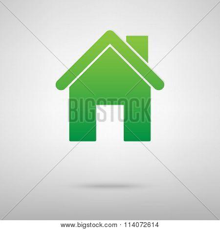 Home symbol. Green icon