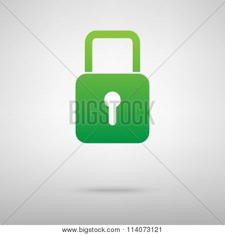 Lock. Green icon with shadow