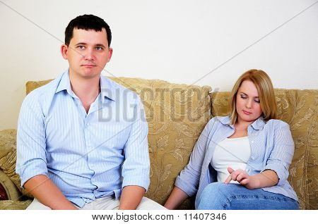 Young married couple at odds
