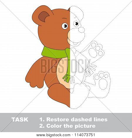 Bear to be colored. Vector trace game.