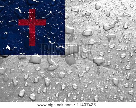 flag of Christian with rain drops