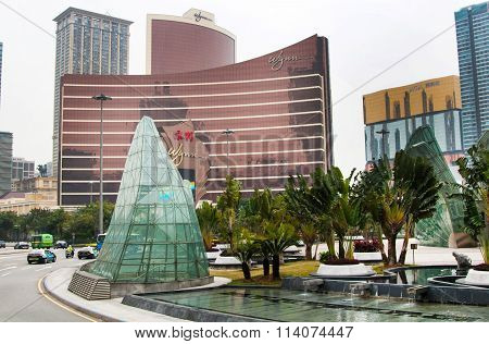 Modern buildings of hotels and casino in the center of Macau city