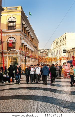 People at historic centre of Macau decorated for the Chinese New Year