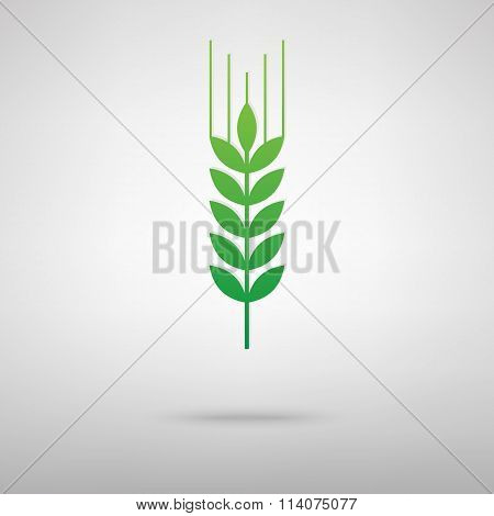 Wheat sign. Green icon with shadow
