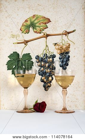 white wine with bunch of grapes