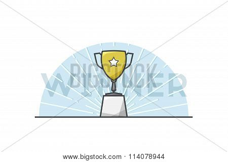 Trophy cup with star flat line style icon. Stock vector.