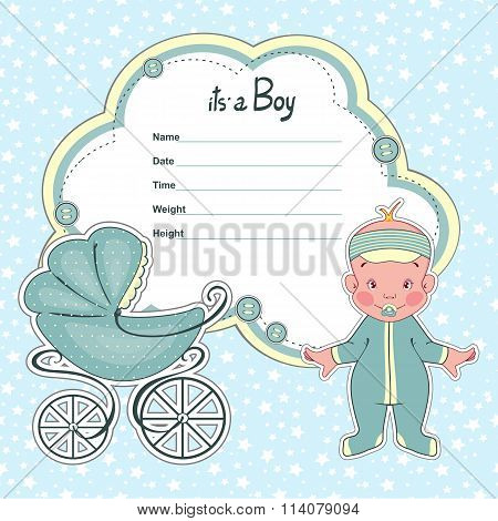 Baby shower card for newborn boy with a sidecar.