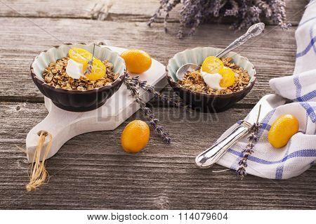Healthy Breakfast, Homemade Oatmeal with kumquats