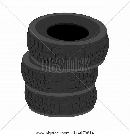 Pile of car tires cartoon icon