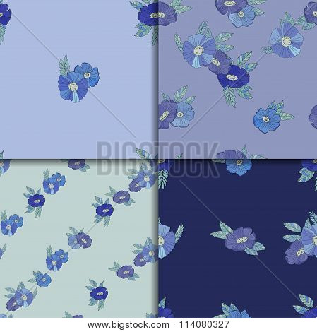 Set of four seamless patterns with blue flowers