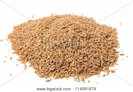A Bunch Of Spelt On A White Background