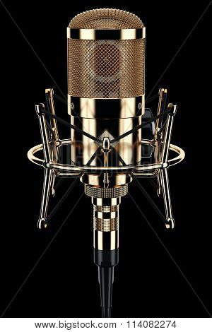 Gold Microphone Audio Studio On Black Background 3D
