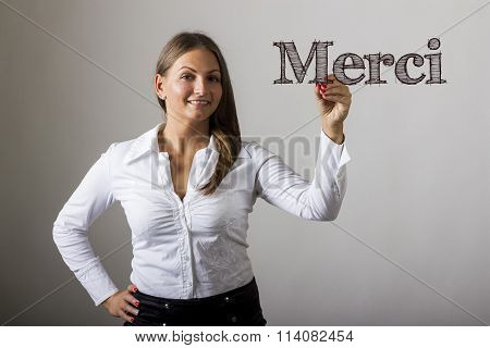 Merci - Beautiful Girl Writing On Transparent Surface