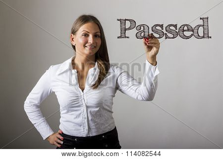 Passed - Beautiful Girl Writing On Transparent Surface