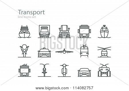 Transport. Line icons set. Colourless. Stock vector.