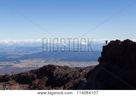 Man at the crater edge of Mount Ngauruhoe