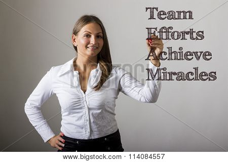Team Efforts Achieve Miracles - Beautiful Girl Writing On Transparent Surface