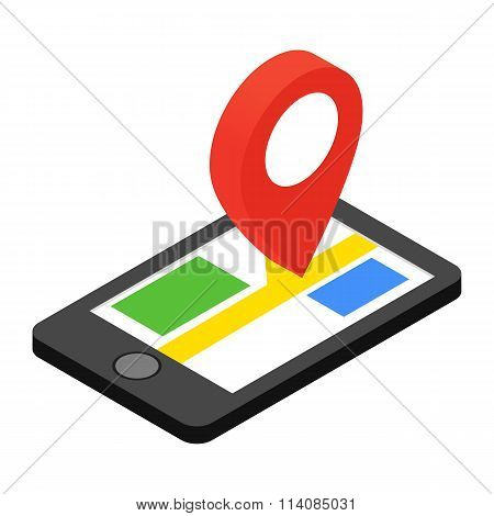 Mobile phone with GPS navigator isometric 3d icon