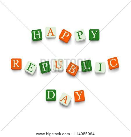Happy republic Day with colorful blocks