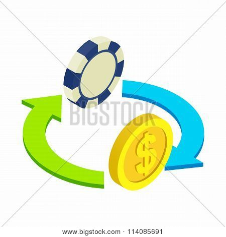 Exchange chip to dollar sometric 3d icon
