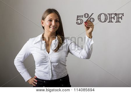5 Percent Off - Beautiful Girl Writing On Transparent Surface