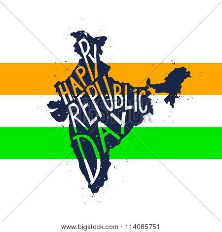Happy republic Day Typographic poster