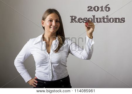 2016 Resolutions - Beautiful Girl Writing On Transparent Surface