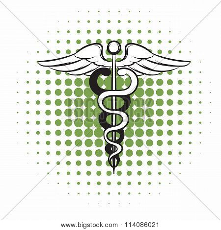 Caduceus medical symbol comics icon