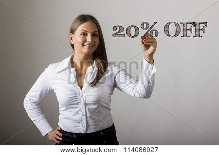 20 Percent Off - Beautiful Girl Writing On Transparent Surface