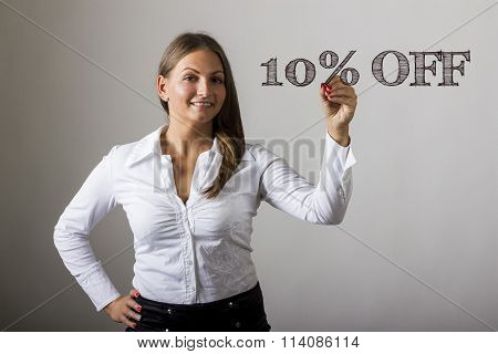 10 Percent Off - Beautiful Girl Writing On Transparent Surface