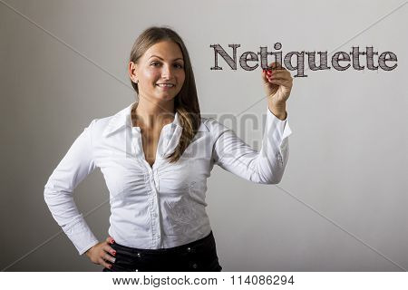 Netiquette - Beautiful Girl Writing On Transparent Surface