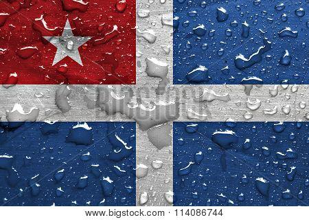flag of the Cretan State with rain drops