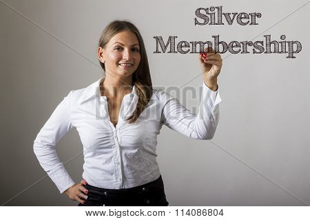 Silver Membership - Beautiful Girl Writing On Transparent Surface