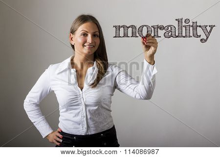 Morality - Beautiful Girl Writing On Transparent Surface