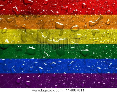 flag of the LGBT movement with rain drops