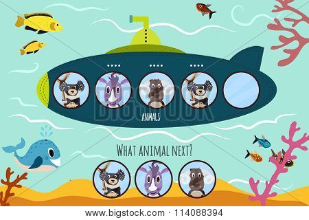 Cartoon Vector Illustration Of Education Will Continue The Logical Series Of Colourful Animals