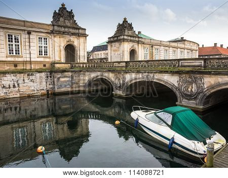 Bridge over canal to Christiansborg Palace in Copenhagen
